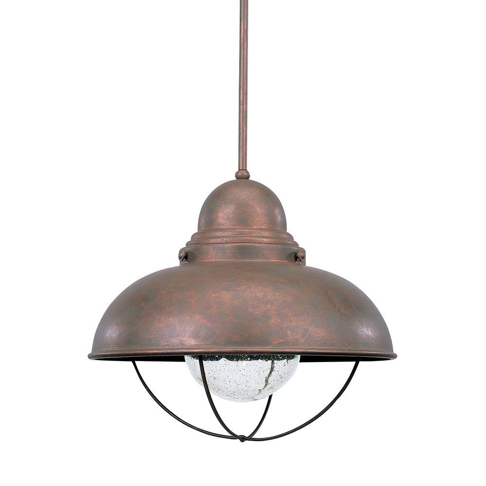 Light Fixtures At Home Depot: Sea Gull Lighting Sebring Weathered Copper Pendant-665891S