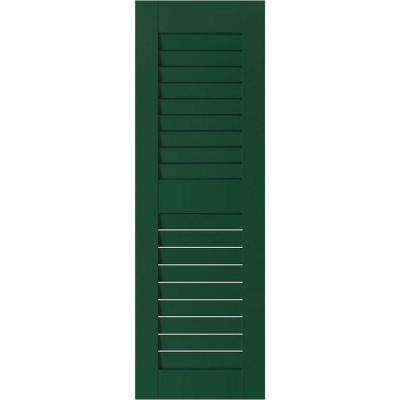 12 in. x 42 in. Exterior Real Wood Pine Louvered Shutters Pair Chrome Green