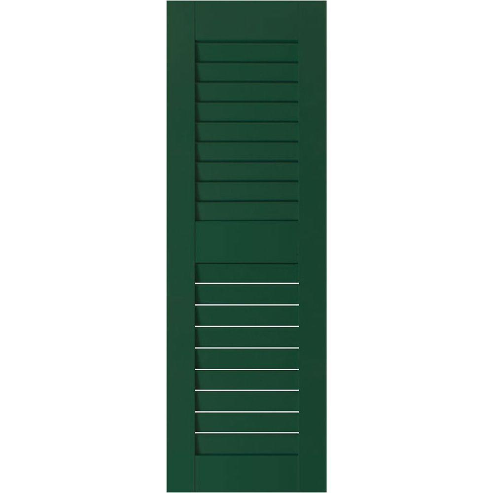 Ekena Millwork 15 in. x 65 in. Exterior Real Wood Pine Louvered Shutters Pair Chrome Green