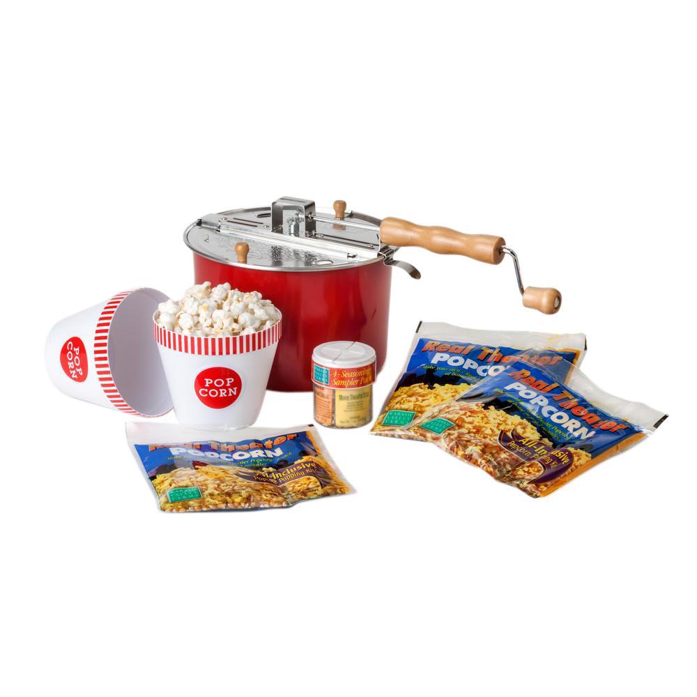 Whirley 4-Piece Aluminum Multi-Colored Popcorn Popper Set
