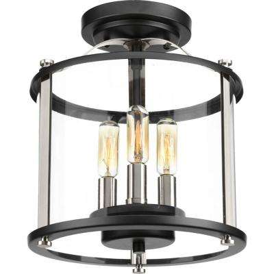 Squire Collection 3-Light Black Outdoor Flushmount