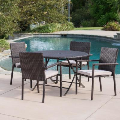 Adler Multi-Brown 5-Piece Wicker Outdoor Dining Set with Beige Cushions