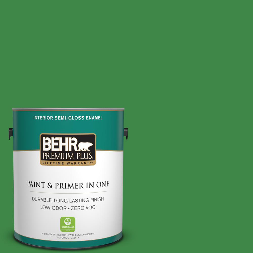 BEHR Premium Plus 1-gal. #P400-7 Paradise of Greenery Semi-Gloss Enamel Interior Paint