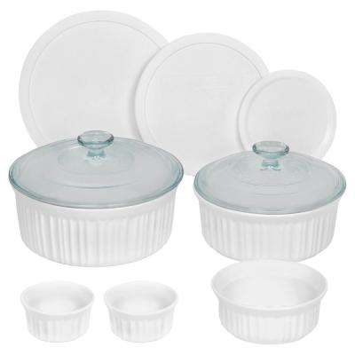 French White 10-Piece Ceramic Bakeware Set