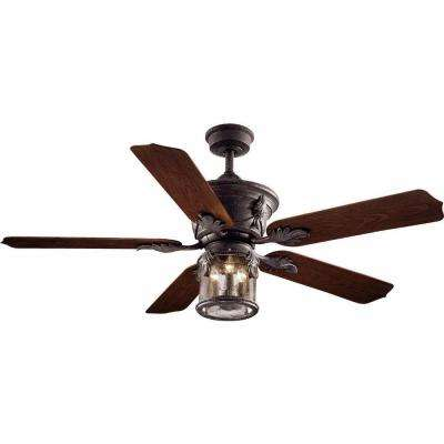 Milton 52 in.  Indoor/Outdoor Oxide Bronze Patina Ceiling Fan with Light Kit and Wall Control