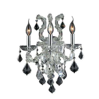 Lyre Collection 3-Light Chrome and Crystal Sconce