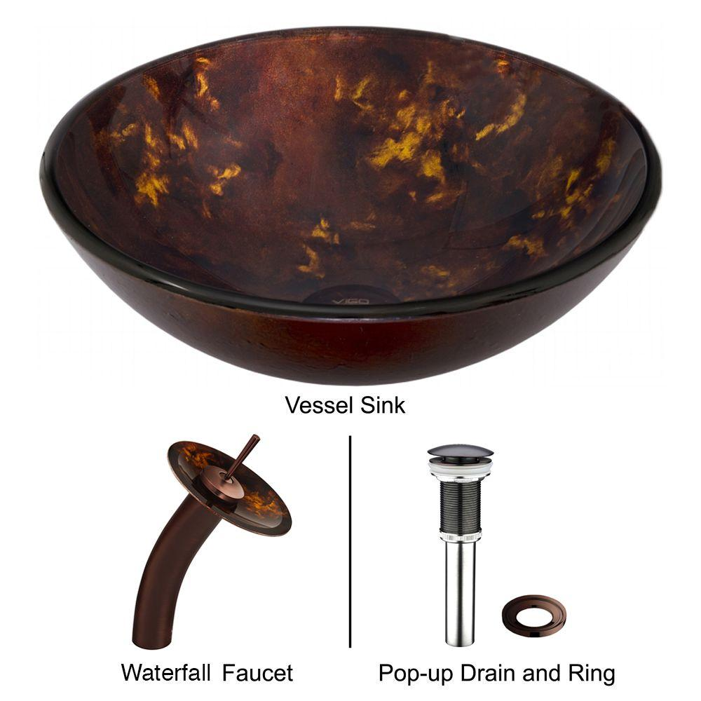 Vigo Glass Vessel Sink In Brown And Gold Fusion With Waterfall