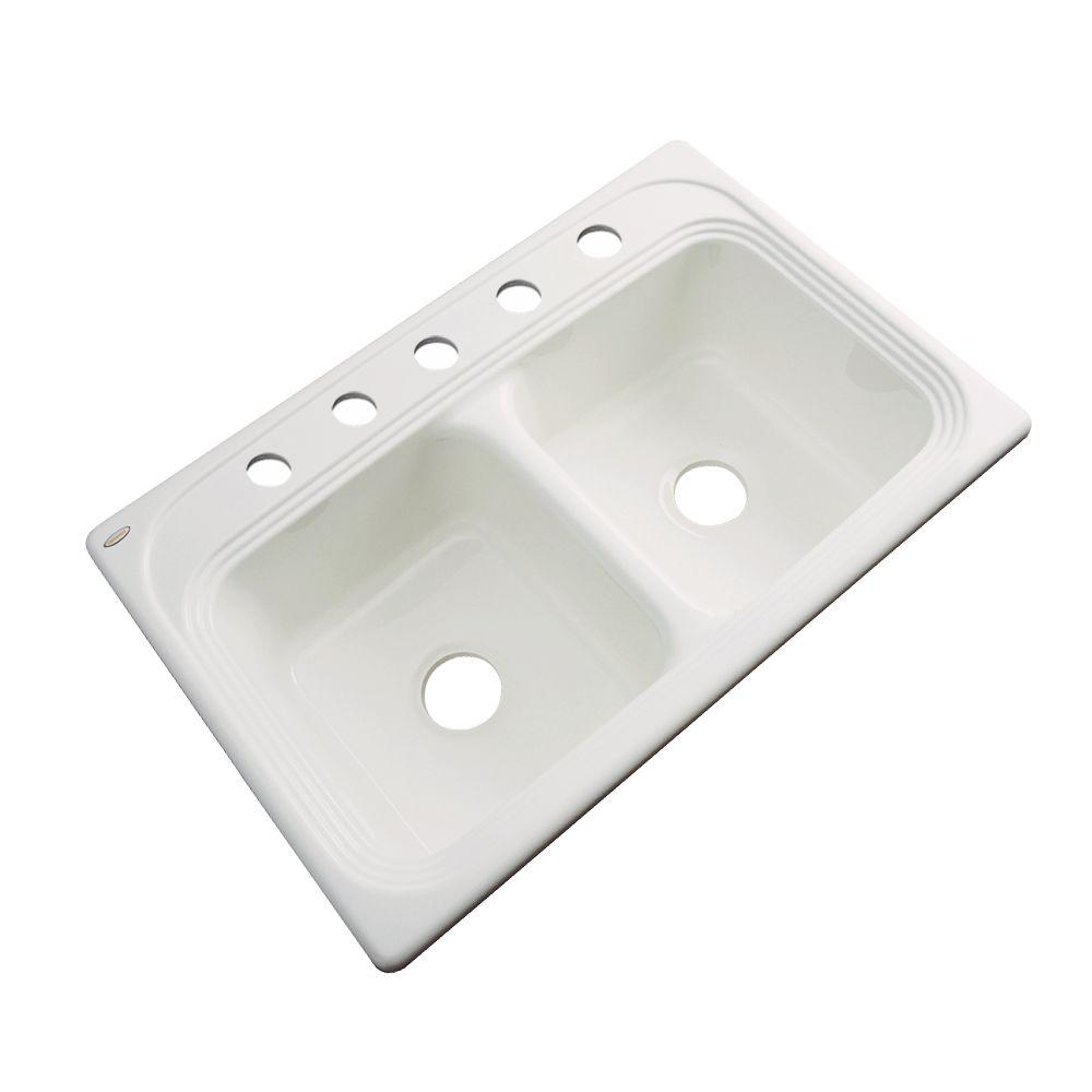 Thermocast Chesapeake Drop-In Acrylic 33 in. 5-Hole Double Bowl Kitchen Sink in Almond