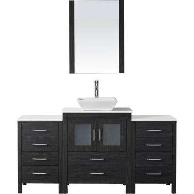 Dior 64 in. W x 18.3 in. D Vanity in Zebra Grey with Stone Vanity Top in White with White Basin and Mirror
