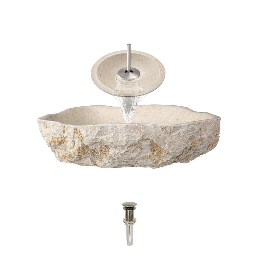 Mr Direct Stone Vessel Sink In Galaga Beige Marble With Waterfall Faucet And Pop Up Drain Brushed Nickel Leviton 280 Home Wiring Diagram