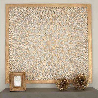 48 in. x 48 in. Rustic Decorative Carved Floral-Patterned Wooden Wall Panel in Distressed Brown