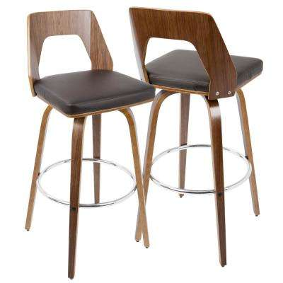 Trilogy Walnut and Brown Mid-Century Modern Barstool