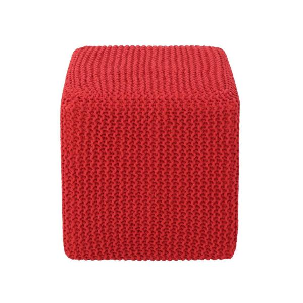 Tessie 16.5 in. Red Square Knitted Cotton Foot Stool