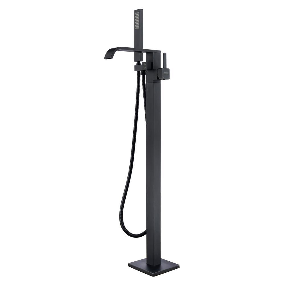 Seven Falls 8015 Single-Handle Floor-Mount Roman Tub Faucet with Hand Shower in Matte Black