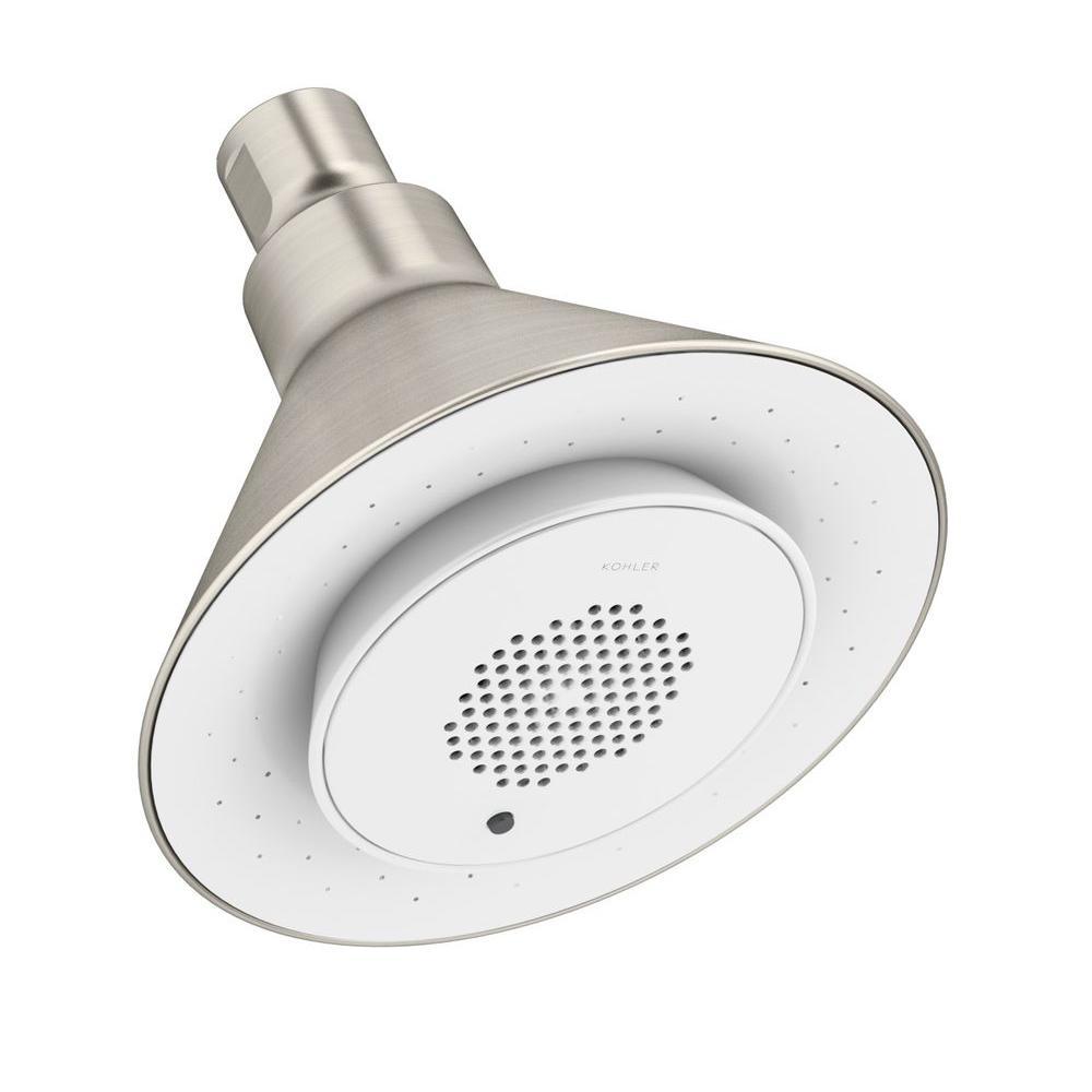 Moxie 1-Spray 5 in. Showerhead with Wireless Speaker in Vibrant Brushed Nickel