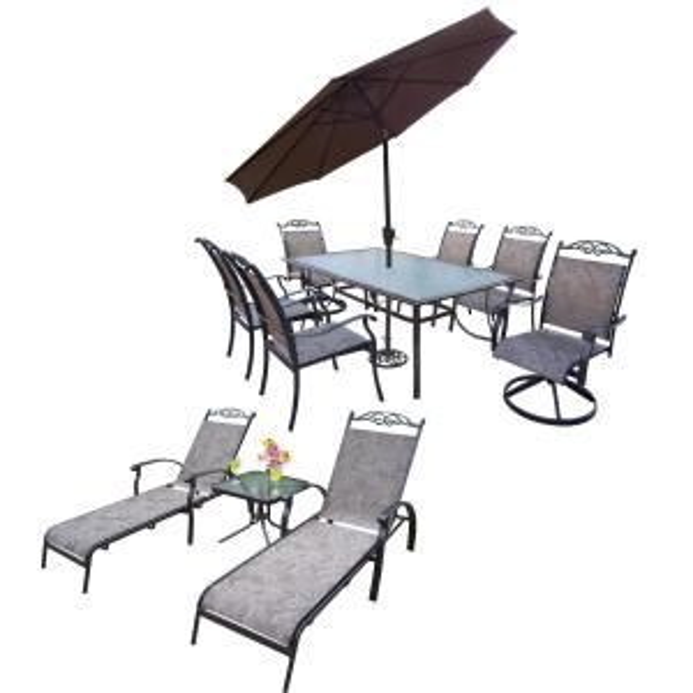 12 Piece Aluminum Outdoor Dining Set And Brown  Umbrella HD10027T 10605S2C4 L2ET1 4005BN4101 12CF   The Home Depot