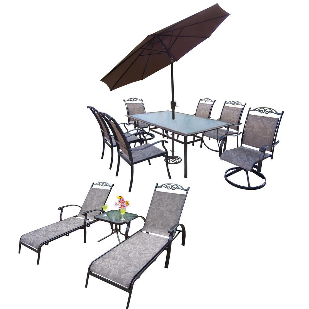 12 Piece Aluminum Outdoor Dining Set And Brown Umbrella