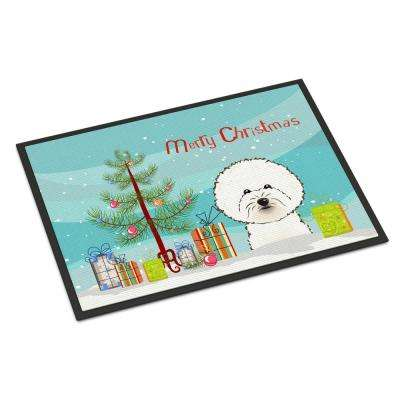 18 in. x 27 in. Indoor/Outdoor Christmas Tree and Bichon Frise Door Mat