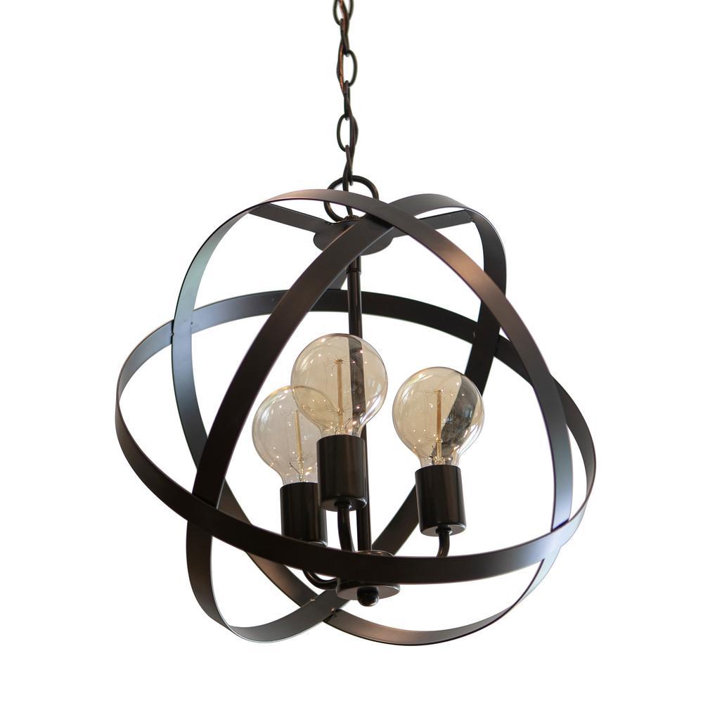 Reese Orb 3-Light Black Chandelier