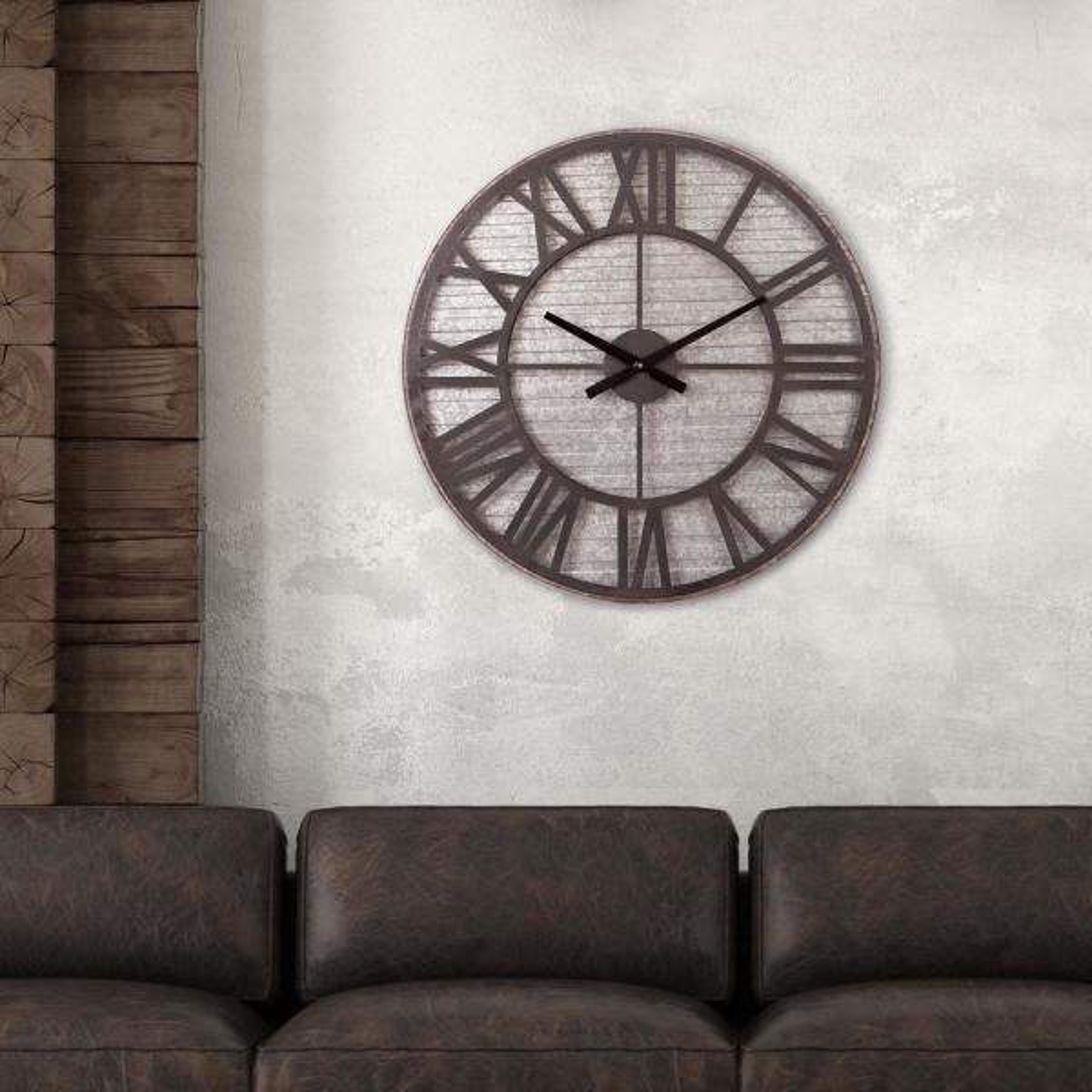 Rustic Galvanized Metal Cut Out Black Wall Clock