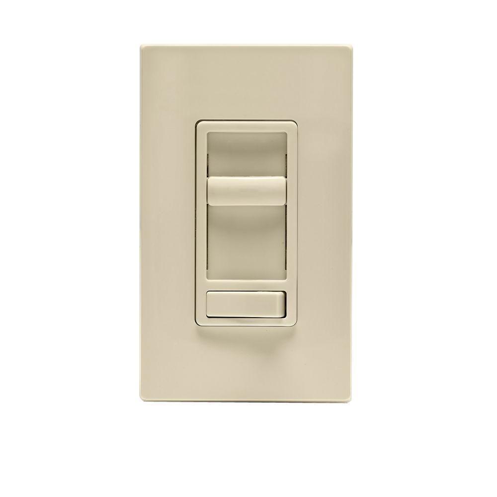 leviton sureslide 600 watt single pole and 3 way incandescent cfl led slide dimmer light almond. Black Bedroom Furniture Sets. Home Design Ideas