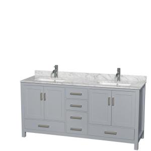 Wyndham Collection Sheffield 72 inch W x 22 inch D Vanity in Gray with Marble Vanity Top... by Wyndham Collection