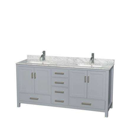 Sheffield 72 in. W x 22 in. D Vanity in Gray with Marble Vanity Top in Carrara White with White Basins
