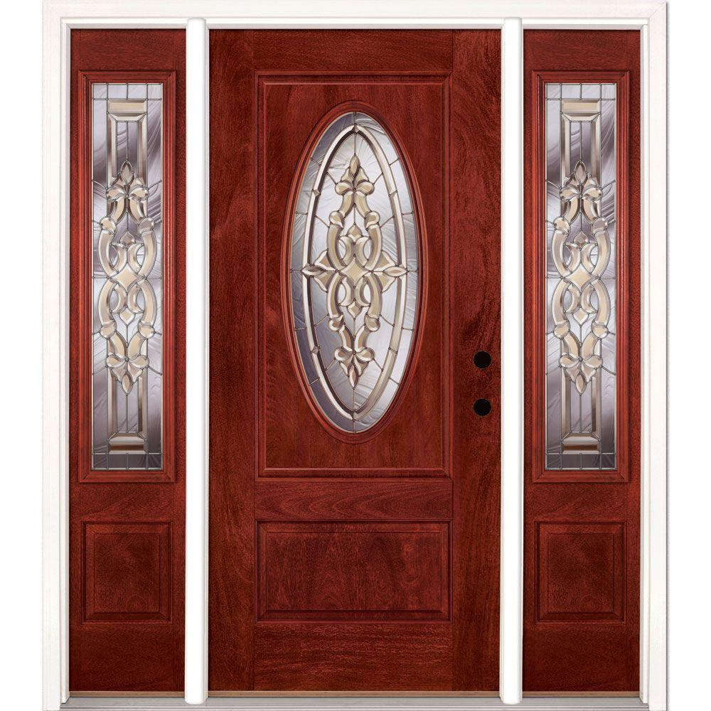 Feather River Doors 67.5 in.x81.625in.Silverdale Zinc 3/4 Oval Lt Stained Cherry Mahogany Left-Hd Fiberglass Prehung Front Door w/ Sidelites