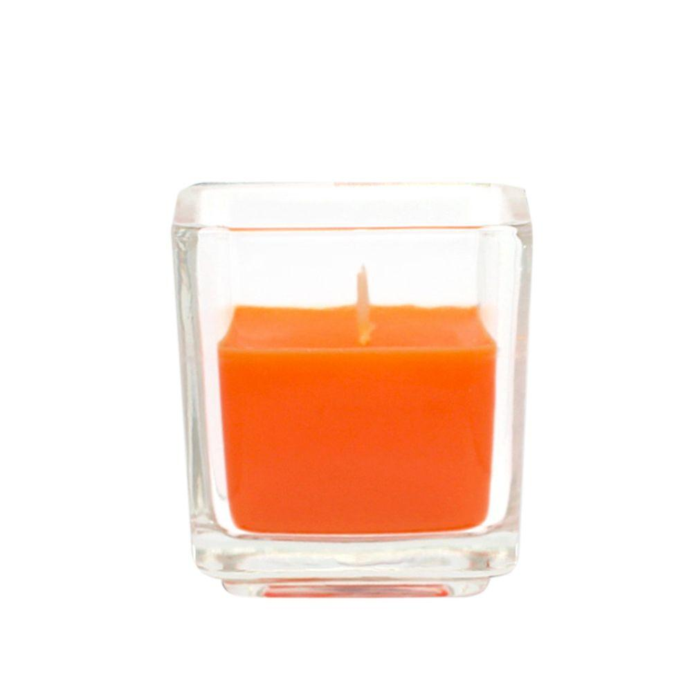 Zest Candle 2 in. Orange Square Glass Votive Candles (12-Box)