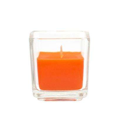 2 in. Orange Square Glass Votive Candles (12-Box)