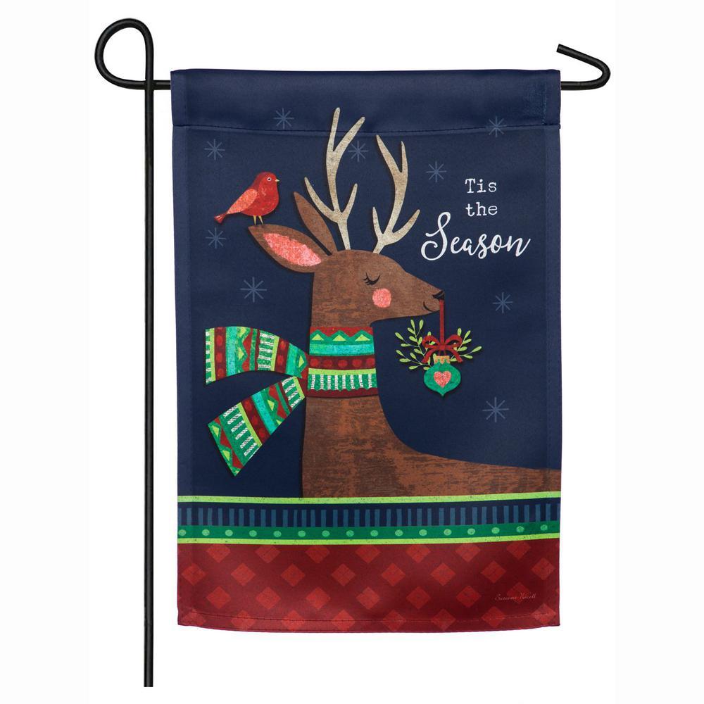 18 in. x 12.5 in. Tis the Season Reindeer Garden Suede Flag