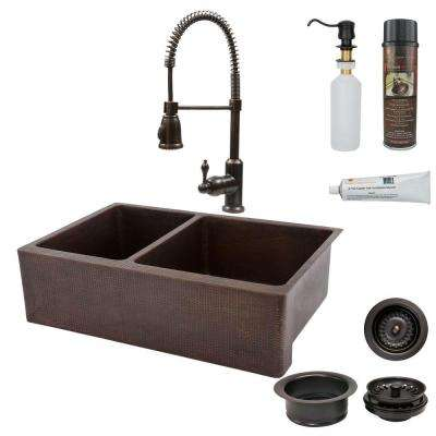 All-in-One Farmhouse Apron-Front Copper 33 in. 0-Hole 40/60 Double Basin Kitchen Sink in Oil Rubbed Bronze