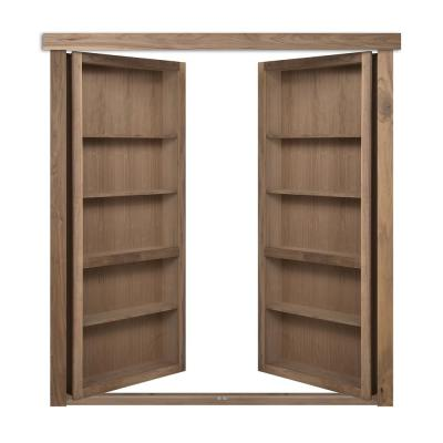 48 in. x 80 in. Flush Mount Assembled Walnut Unfinished Out-Swing Solid Core Interior French Bookcase Door