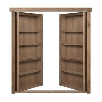 72 in. x 80 in. Flush Mount Assembled Walnut Unfinished Out-Swing Solid Core Interior French Bookcase Door