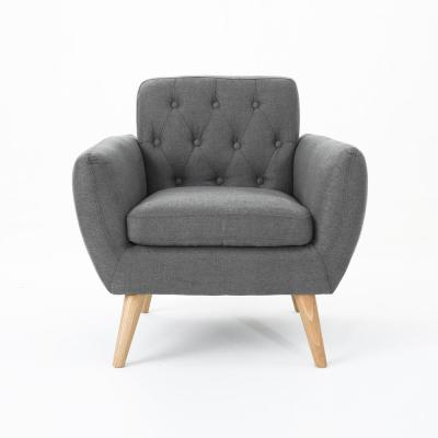 Bernice Petite Dark Grey and Natural Fabric Tufted Club Chair