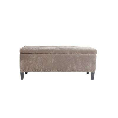 Light Brown Tufted Storage Bench
