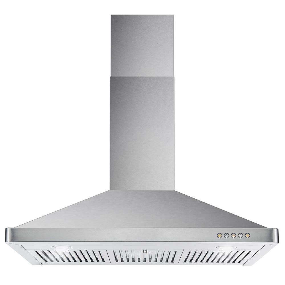Cosmo 36 in. Ducted Wall Mount Range Hood in Stainless Steel with LED on