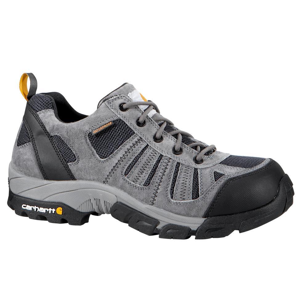 Carhartt Men's 09.5M Grey Split Leather and Blue Nylon Waterproof Composite Safety Toe 3 in. Lightweight Work Hiker