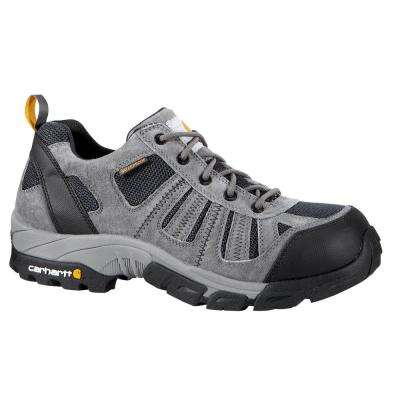 Men's 14M Grey Split Leather and Blue Nylon Waterproof Composite Safety Toe 3 in. Lightweight Work Hiker