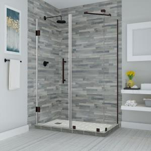 Aston Bromley 73 25 In To 74 25 In X 36 375 In X 72 In Frameless Corner Hinged Shower Door In Bronze Sen967ez Nbr 743636 10 The Home Depot