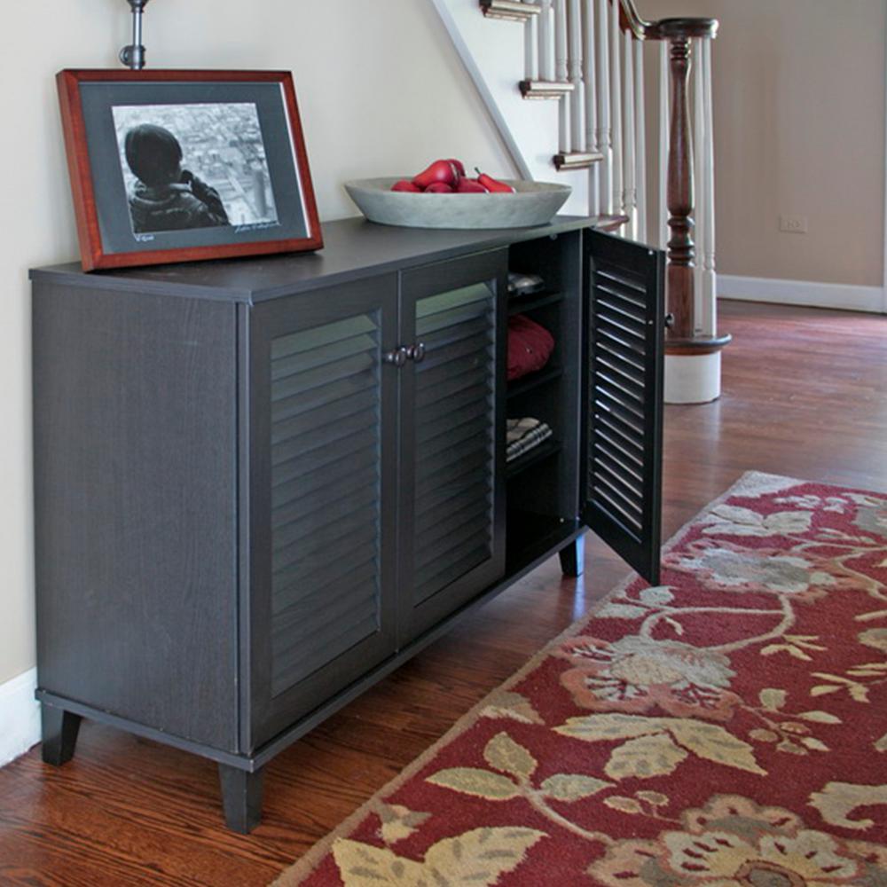 Baxton Studio Warren Wood Shoe Storage Cabinet In Dark Brown 28862 5307 Hd The Home Depot