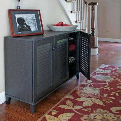 Warren Wood Shoe Storage Cabinet in Dark Brown