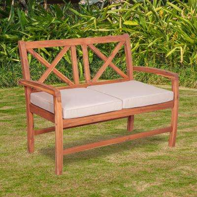 Acacia Wood Outdoor Loveseat with Nude Cushions