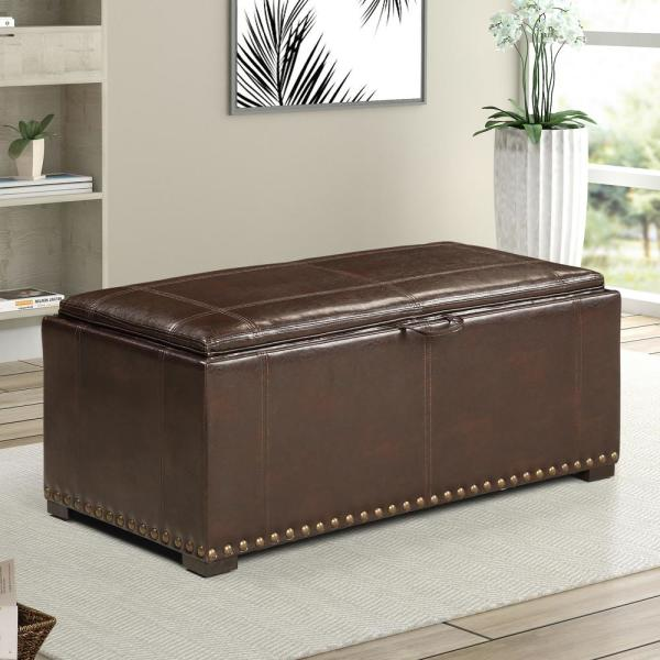 Ac Pacific Brown Leather Storage Bench With 2 Side Ottomans Sb 008 Brn The Home Depot