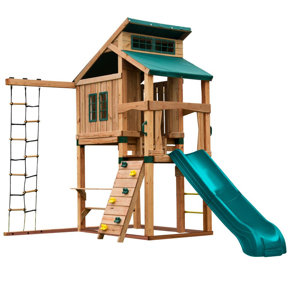 Swing-N-Slide Playsets Hideaway Clubhouse Playset with Summit Slide