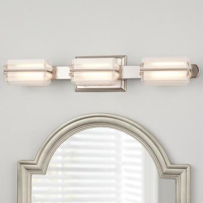 Saltarell 40-Watt Equivalent 3-Light Brushed Nickel LED Vanity Light with Clear Etched Glass