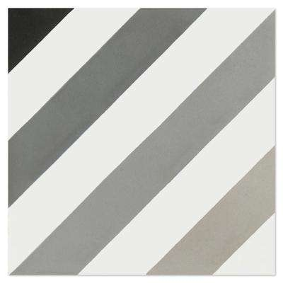 Diagonal Eight Shades of Gray PS 7-7/8 in. x 7-7/8 in. Cement Handmade Floor and Wall Tile