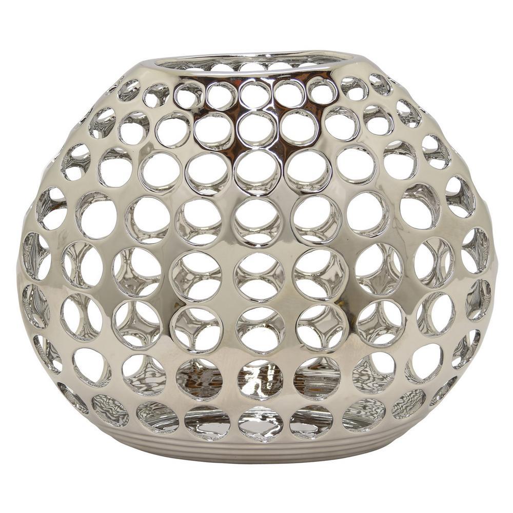Pierced Silver Ceramic Decorative Vase