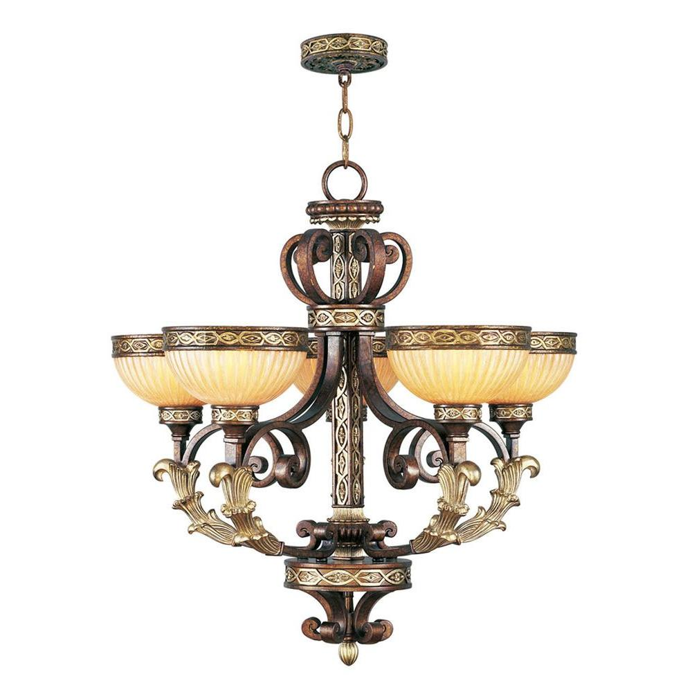 5-Light Palacial Bronze Incandescent Ceiling Chandelier with Gilded Accents