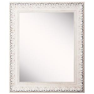 French 31 in. W x 43 in. H Framed Rectangular Bathroom Vanity Mirror in Antiqued White